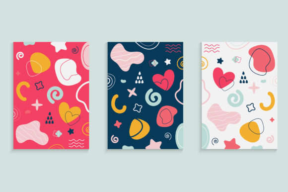 Cover Design Set with Doodle Elements Graphic Backgrounds By medelwardi
