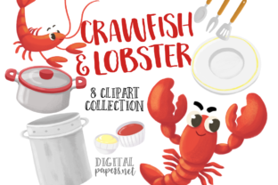 Print on Demand: Crawfish & Lobster Watercolor Graphic Illustrations By DigitalPapers