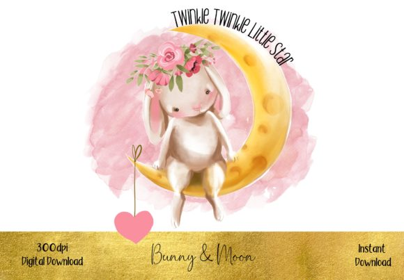 Cute Bunny Sitting on the Moon Graphic Illustrations By STBB