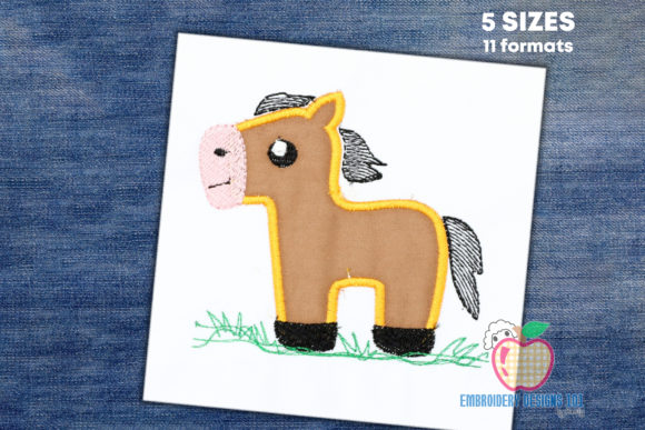Cute Pony Horse Applique Horses Embroidery Design By embroiderydesigns101