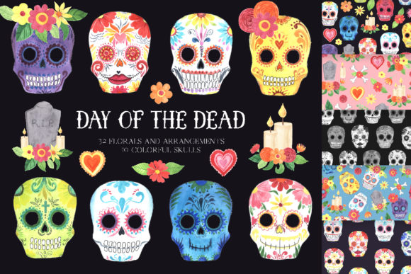 Day of the Dead - Mexican Clipart Set Graphic Illustrations By Larysa Zabrotskaya