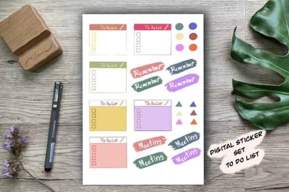 Digital Stickers Set to Do List Graphic Illustrations By Aloe_wannaart