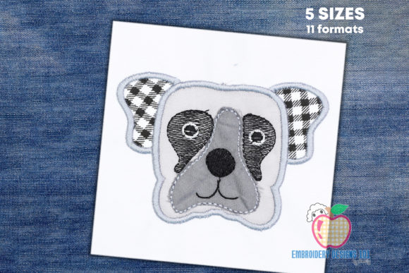 Dog Head Applique Design Dogs Embroidery Design By embroiderydesigns101