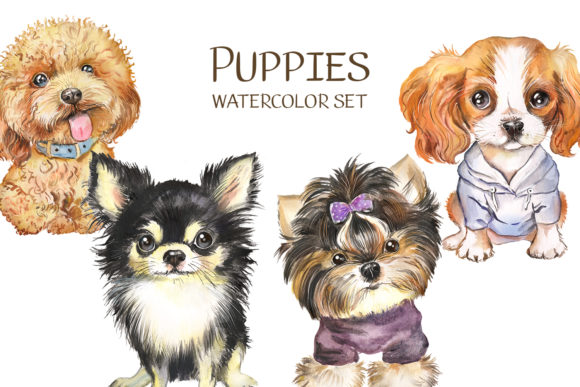 Dog Watercolor сlipart. Cute Puppies Graphic