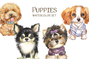 Dog Watercolor сlipart. Cute Puppies Graphic Illustrations By EvArtPrint