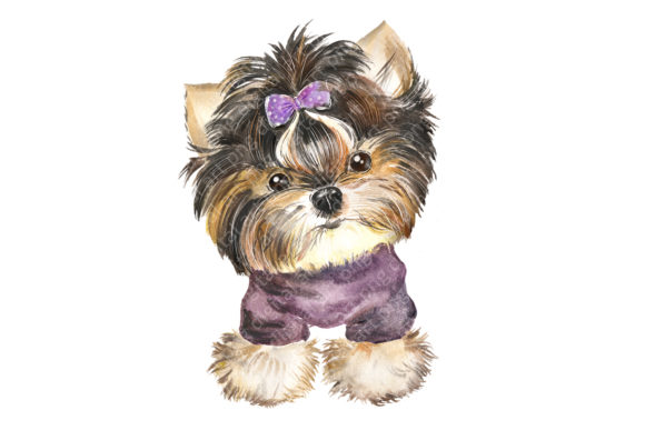 Dog Watercolor сlipart. Cute Puppies Graphic Preview