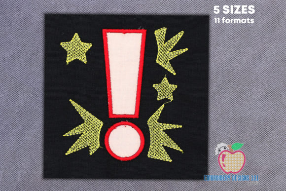 Exclamation Mark Applique School & Education Embroidery Design By embroiderydesigns101