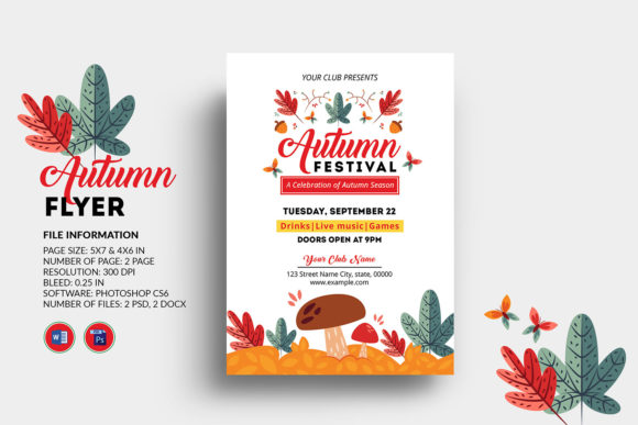 Print on Demand: Fall / Autumn Festival Flyer Template Graphic Print Templates By sistecbd