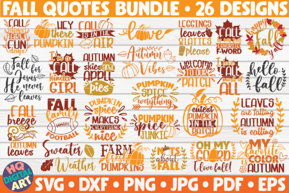 Print on Demand: Fall Quotes SVG Bundle | 26 Designs Graphic Crafts By mihaibadea95