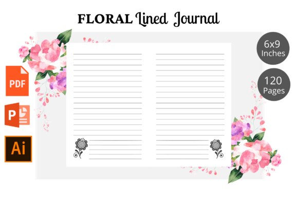 Print on Demand: Floral Lined Journal KDP Interior Graphic KDP Interiors By KDPWarrior
