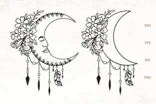 Print on Demand: Floral Moon SVG - Moon with Flowers Graphic Crafts By Dasagani