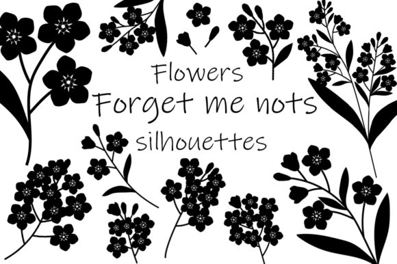 Flowers Silhouettes Vector Illustration Graphic Illustrations By shishkovaiv
