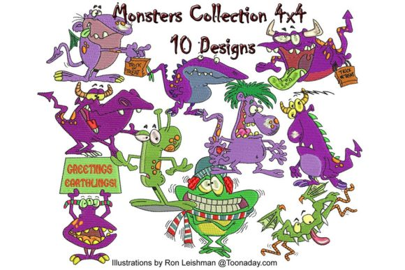 Friendly Alien Monster Embroidery Download