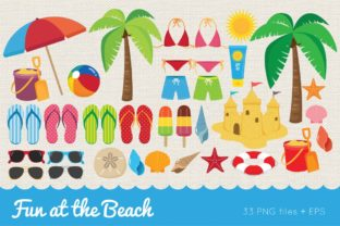 Fun at the Beach Clip Art Vector PNG Graphic Illustrations By peachycottoncandy