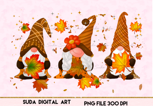 Print on Demand: Gnomes Thanksgiving Sublimation Design Grafik Illustrationen von Suda Digital Art
