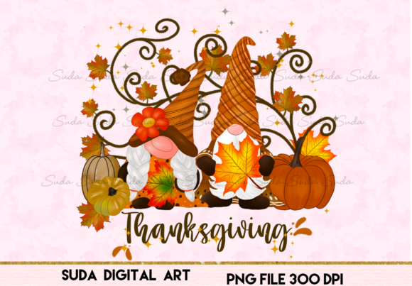 Print on Demand: Gnomes Thanksgiving Pumpkins Sublimation Graphic Illustrations By Suda Digital Art