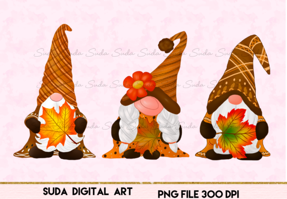 Print on Demand: Gnomes Thankful Design Sublimation Graphic Illustrations By Suda Digital Art