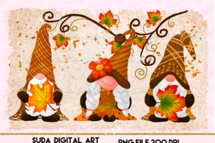 Print on Demand: Gnomes Thankful Maple Sublimation Graphic Illustrations By Suda Digital Art