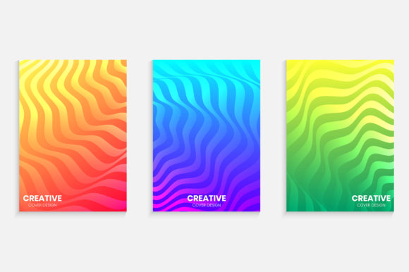 Gradient Cover Design with Wavy Lines Graphic Backgrounds By medelwardi
