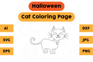 Halloween Coloring Page - Cat 01 Graphic Coloring Pages & Books Kids By isalsemarang