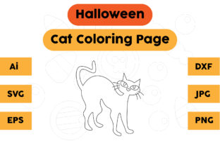Halloween Coloring Page - Cat 02 Graphic Coloring Pages & Books Kids By isalsemarang