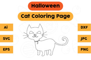Halloween Coloring Page - Cat 03 Graphic Coloring Pages & Books Kids By isalsemarang