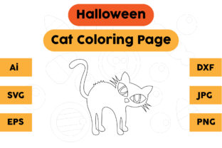 Halloween Coloring Page - Cat 05 Graphic Coloring Pages & Books Kids By isalsemarang