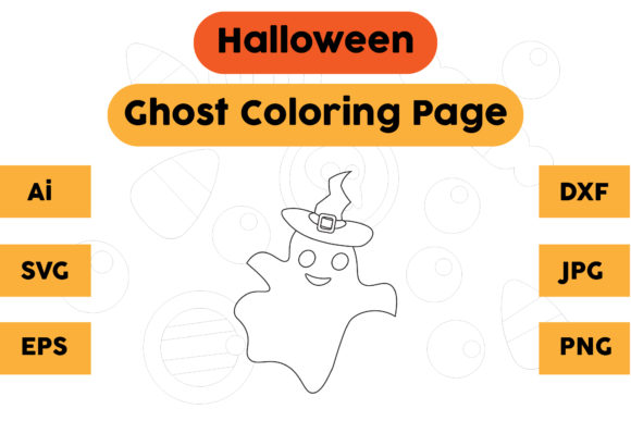 Halloween Coloring Page - Ghost 01 Graphic Coloring Pages & Books Kids By isalsemarang
