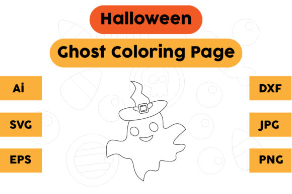 Halloween Coloring Page - Ghost 02 Graphic Coloring Pages & Books Kids By isalsemarang