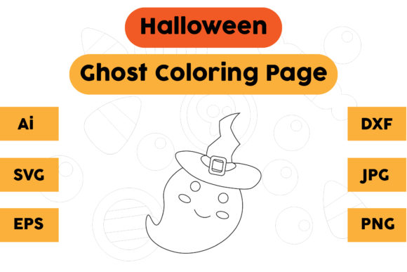 Halloween Coloring Page - Ghost 03 Graphic Coloring Pages & Books Kids By isalsemarang