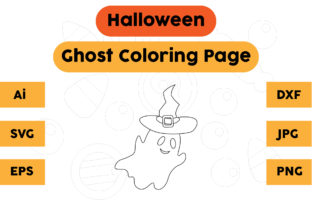 Halloween Coloring Page - Ghost 04 Graphic Coloring Pages & Books Kids By isalsemarang
