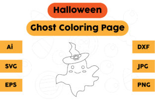 Halloween Coloring Page - Ghost 05 Graphic Coloring Pages & Books Kids By isalsemarang