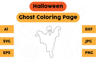 Halloween Coloring Page - Ghost 06 Graphic Coloring Pages & Books Kids By isalsemarang