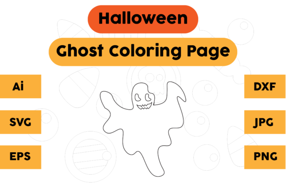 Halloween Coloring Page - Ghost 07 Graphic Coloring Pages & Books Kids By isalsemarang