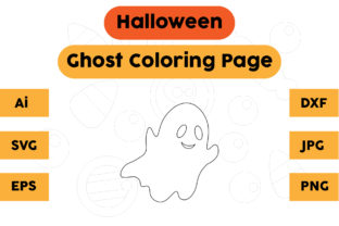 Halloween Coloring Page - Ghost 09 Graphic Coloring Pages & Books Kids By isalsemarang