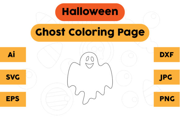 Halloween Coloring Page - Ghost 10 Graphic Coloring Pages & Books Kids By isalsemarang