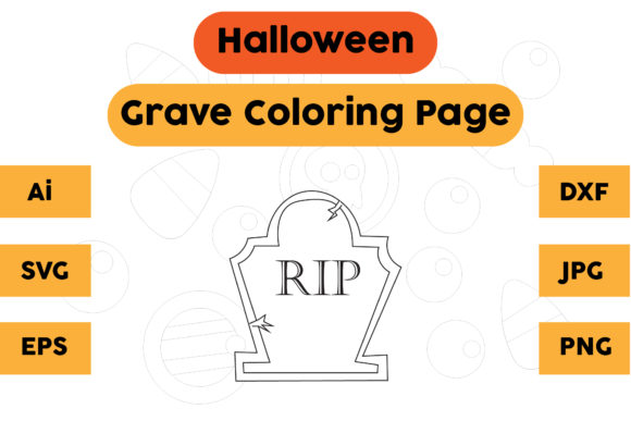 Halloween Coloring Page - Grave 02 Graphic Coloring Pages & Books Kids By isalsemarang