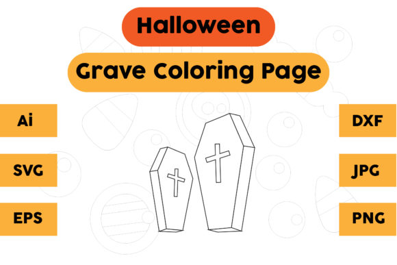 Halloween Coloring Page - Grave 03 Graphic Coloring Pages & Books Kids By isalsemarang