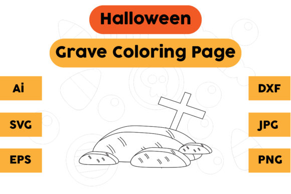 Halloween Coloring Page - Grave 04 Graphic Coloring Pages & Books Kids By isalsemarang