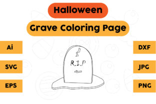 Halloween Coloring Page - Grave 05 Graphic Coloring Pages & Books Kids By isalsemarang