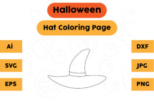 Halloween Coloring Page - Hat 01 Graphic Coloring Pages & Books Kids By isalsemarang