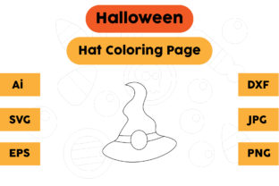 Halloween Coloring Page - Hat 02 Graphic Coloring Pages & Books Kids By isalsemarang