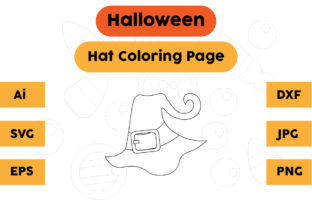 Halloween Coloring Page - Hat 03 Graphic Coloring Pages & Books Kids By isalsemarang