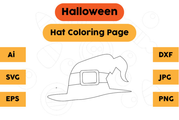 Halloween Coloring Page - Hat 04 Graphic Coloring Pages & Books Kids By isalsemarang