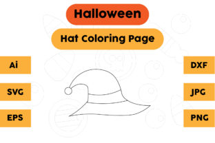 Halloween Coloring Page - Hat 05 Graphic Coloring Pages & Books Kids By isalsemarang
