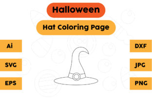 Halloween Coloring Page - Hat 07 Graphic Coloring Pages & Books Kids By isalsemarang