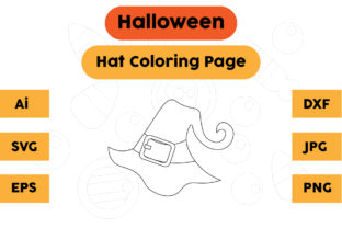 Halloween Coloring Page - Hat 08 Graphic Coloring Pages & Books Kids By isalsemarang