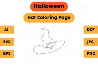 Halloween Coloring Page - Hat 09 Graphic Coloring Pages & Books Kids By isalsemarang
