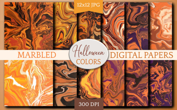 Print on Demand: Halloween Digital Paper Backgrounds Graphic Backgrounds By Digital Town