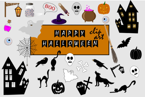 Halloween Clipart for Your Creativity. Graphic Illustrations By ladyangelika71